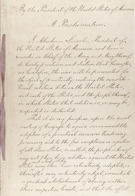 First page of the Preliminary Emancipation Proclamation (National Archives and Records Administration)