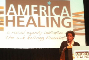 Myrlie Evers-Williams, speaking to attendees at the Kellogg Foundation's 2013 America Healing gathering