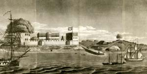 Bunce Island, a slave fort along the coast of Sierra Leone