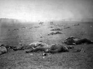 'Harvest of Death,' Battle of Gettysburg, by Timothy H. O'Sullivan, between July 4 and 7, 1863