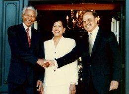 Ambassador Joseph, Mary Braxton Joseph, and Nelson Mandela