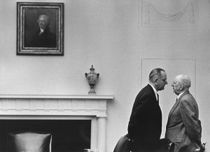 President Lyndon Johnson speaks with Senator Richard Russell, Dec. 7, 1963