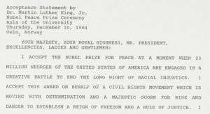 Text of King's Nobel Prize acceptance speech