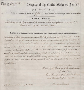 Resolution of U.S. Congress, proposing 13th Amendment to the states